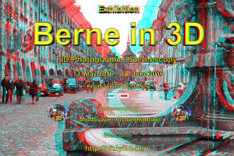 Berne in 3D - Exhibition 2016 - Invitation - Anaglyph
