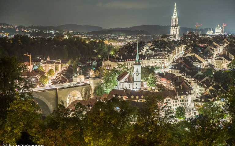 Nightrise in Berne in August - Berne in HDR