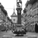 Simson Fountain and Zytglogge - Berne in Black & White
