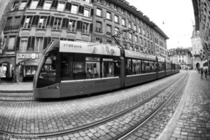 Public Traffic in Spitalgasse in B&W - Berne Fisheye