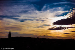 October Sky Story with Berne Skyline - Sunset in Berne