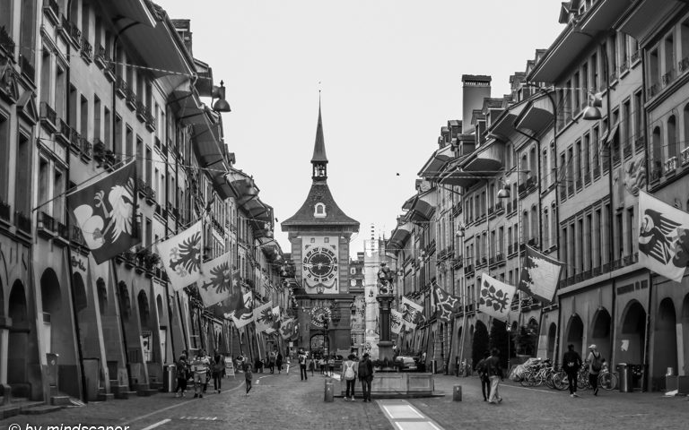 Kramgasse with Zytglogge - Berne in Black & White