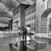 Dramatic Evening Clouds above Bundeshaus in Autumn - Berne by Night in Black And White