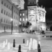Chess at Newly Reopened and renovated Bundesterrasse - Berne by Night in Black And White