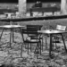 Chairs & Tables at Minster Plattform - Berne by Night in Black And White