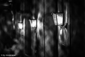 Lantern Corner in Berne - Berne by Night in Black & White