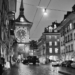 Zytglogge by Night On A Rainy Day - Berne by Night in Black And White