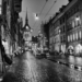 Kramgasse at Rain - Berne by Night in Black And White