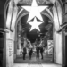 Xmas Stars at Zytglogge Gate - Black & White