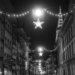 Xmas Lights in Münstergasse - Berne by Night in Black & White