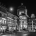 Bärenplatz & Bundeshaus in Advent by Night - Berne in Black & White