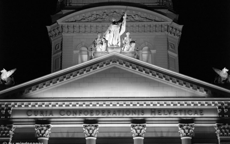 Front Face Part of Bundeshaus with Sculptures - Berne by Night in Black & White