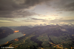 Jungfrauregion from Niesen in the Evening - HDR