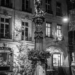 Justice Fountain with Xmas Tree - Berne by Night in Black & White