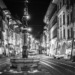 Marksman Fountain and Marktgasse Berne with Xmas Lights - Berne by Night in Black & White