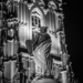 Moses Fountain Sculpture - Berne by Night in Black And White