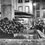 Flowered Venner Fountain and Volver Bar Tapas Café in Eveningrise - Berne in Black & White