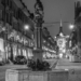 Simson Fountain with Kramgass Xmas Lights - - Berne by Night in Black & White