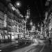 Spitalgasse in Advent - Berne by Night in Black & White