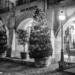 Xmas Trees in Kramgasse - Berne by Night in Black & White