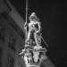 Zähringer Fountain Sculpture - Berne by Night in Black And White