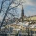 Berne Minster Behind Snowed Trees - Winter Time