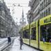 Yellow Tram in snowed Markgasse - Berne in Winter