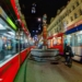 Tramway Rushhour at Piper Fountain - Berne Fisheye by Night in HDR