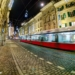 Tramway in Marktagsse - Berne Fisheye by Night
