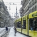 Yellow Tram in snowed Markgasse - Berne in Winter