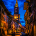 Junkerngasse and Minster Tower by Night - Berne by Night