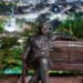 Einstain Statue with Berne Skyline - Berne by Night