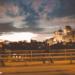 Walking People between Lanterns and Bundeshaus at Nightrise - Berne by Night