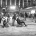 Skating at Bundesplatz - Winter People in Black & White
