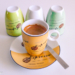 4 Coloured Espresso Labelled Cups - Coffee Time