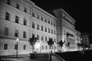 Bundeshaus East South Front - Berne by Night in Black & White