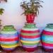 Coloured Plant Amphores . Mediterranean Still Life
