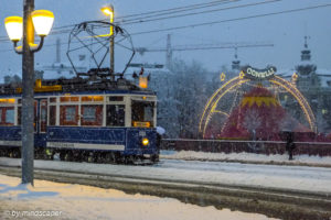 Tramway in the Snow with Conelli CIrkus - Zurich in Winter
