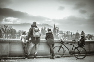 Enjoying Panorama at Münsterplattform - Berne People in Black and White