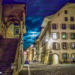 Moon Behind the Clouds at Rathaustreppe, Rathausplatz & Postgasse - Berne by Night in Black & White