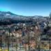 Berne Skyline with white Gurten on a Sunny Winter Morning, seen from Rosergarten - Berne Cityscape