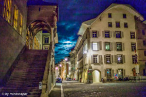 Moon Behind the Clouds at Rathaustreppe, Rathausplatz & Postgasse - Berne by Night