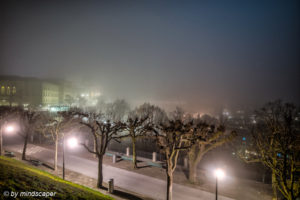 Europapromenade And Bundeshaus in Fog - Berne by Night in HDR