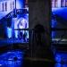 Venner Brunnen und Rathaus in Blau - Museumsnacht Bern 2018