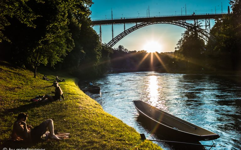 Aare People Enjoying Summer Sunset at Kornhausbridge
