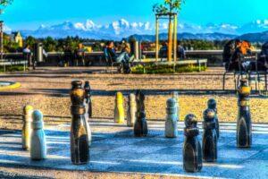 Street Chess with Alpine Panorama