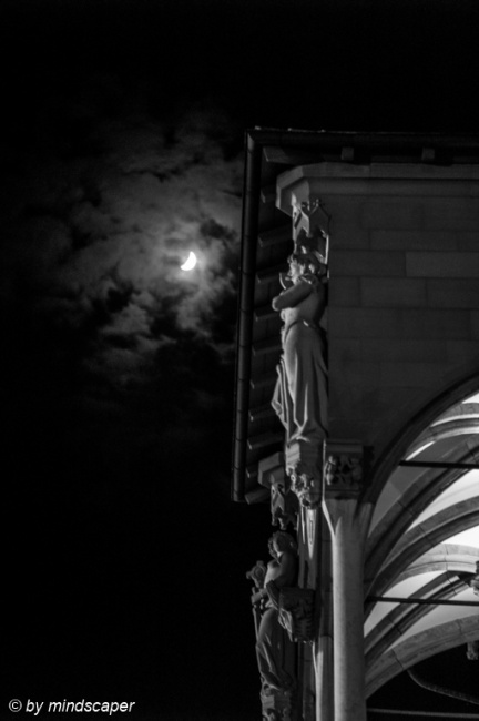 Moon at Berne Rathaus Scale Sculptures - Black & White