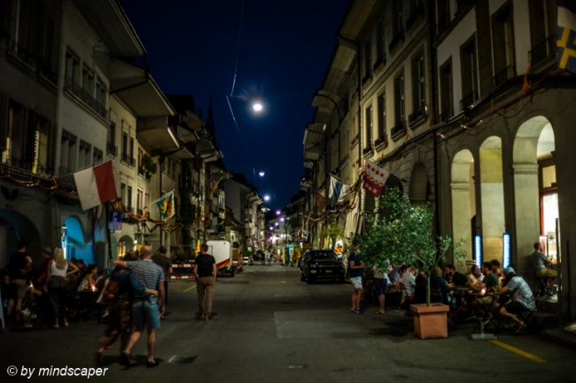 Rathausgasse by Night - Summer in Berne