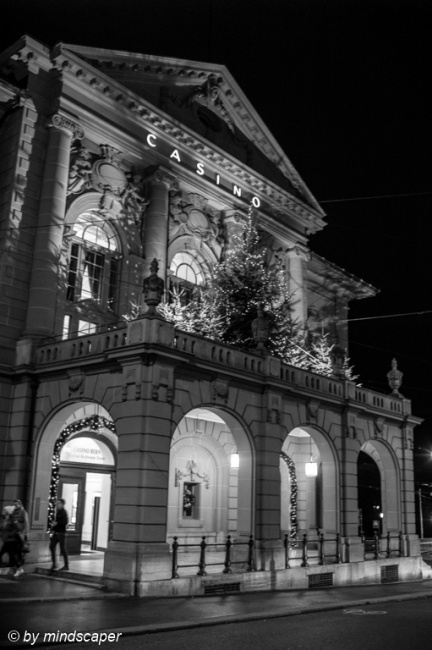 Casino Berne with Xmas Lights - Berne by Night in Black & White