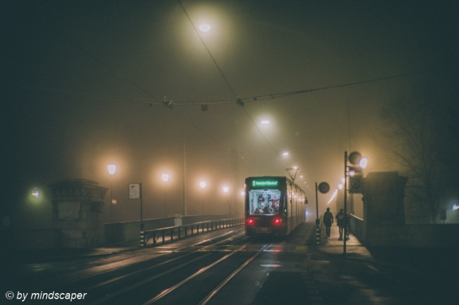 Tramway at Kornhaus Bridge on a Foggy Night - Berne by Night